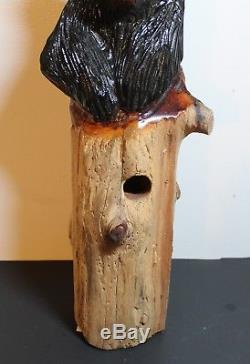 Very Unique Highly Detailed Hand Carved & Painted Wood Black Bear Bird House