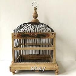 Victorian Bird Cage Dome Top Decorative Wood French Wire Hand Painted Footed