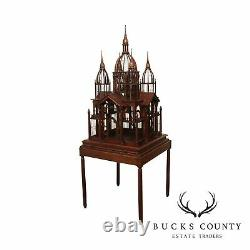Victorian Style Mahogany Bird Cage on Stand