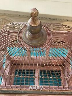 Vintage 1930s Dome Top Wood/Wire Hand Painted Birdhouse
