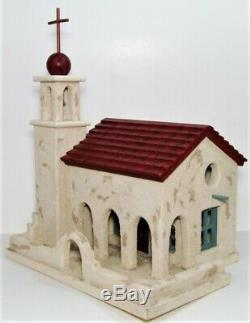 Vintage Beautiful Handmade painted Mission Church Wooden Birdhouse
