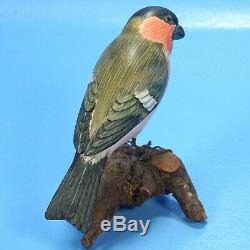 Vintage German Black Forest Wood Carving BIRD House-Sparrow on Branch c1940s