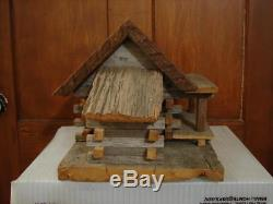 Vintage Hand Crafted Wood Wren Bird House Made Out Of 150 Year Old Barn Wood