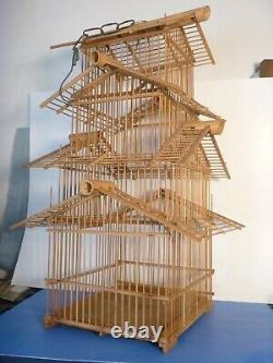 Vintage Pagoda Style Bamboo 3 Level Wooden 24H x 9W Hanging Bird Cage House