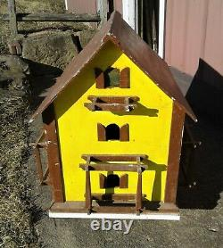 Vintage Primitive Folk Art Martin Bird House with Pole Mount Yellow and Brown