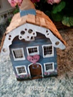 Vintage Solid Wood House Village Hand Painted Canisters Planters Birdhouses