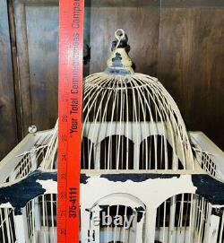 Vintage Victorian 30 Large Domed Cathedral Style Wooden Bird Cage 2 Tier