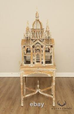 Vintage Victorian Cathedral Style While Wash Bird Cage