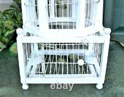 Vintage Victorian Decorative WOOD and WIRE Dome Spring Door White BIRD CAGE