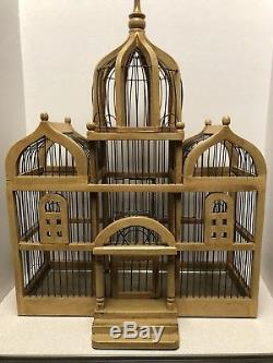 Vintage Victorian Dome TAJ MAHAL Style Wood & Wire BIRD House CAGE 25 x 19