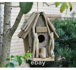 Vintage Wooden Outdoor Hanging Bird House Country Home Garden Natural Wood Large