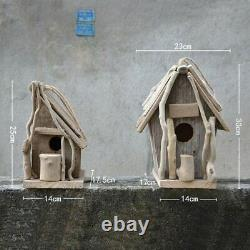 Vintage Wooden Outdoor Hanging Bird House Country Home Garden Natural Wood Small