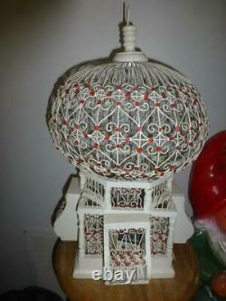 Vtg Antique Victorian Dome Bird house Cage Birdcage Tunisia Wire Scroll wood
