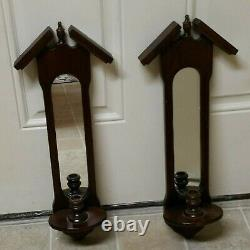 Vtg Lovely 60s Bird House Style Art Deco Wood Mirror Wall Sconce Candle Holder