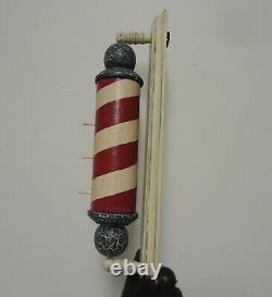 Vtg wooden barber shop pole sign birdhouse wall plaque painted cracked rustic