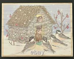 WELCOME GUESTS Winter Snow Birds House Mouse Stampabilities Wood Rubber Stamp