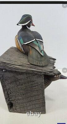 WOOD DUCK PAIR IN DUCK HOUSE WALL HANGING! GORGEOUS! COA/#d