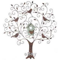 Wall Tree with Birds Distressed House Antique Rust Metal Swirls Wood Home Decor