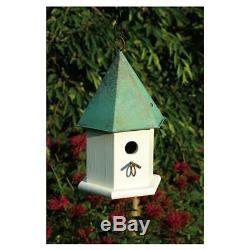 White Wood Bird House with Verdi Green Copper Roof Made in USA
