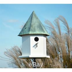 White Wood Bird House with Verdi Green Copper Roof Outdoor porch tree yard