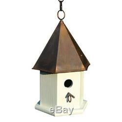 White Wood Songbird Birdhouse with Brown Copper Roof Outdoor