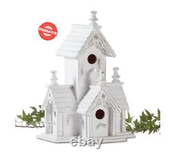 White Wood Victorian Style Freestanding Birdhouse 4 Entries Distressed Finished