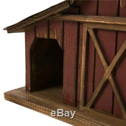 Wood Barn Birdhouse Outdoor Traditional Bird House Iron Vintage Decoration Wood
