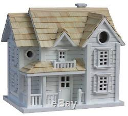 Wood Birdhouse White with Pine Shingle Roof Mounting Bracket Included