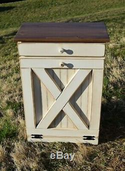 Wood Trash Can, Barn Door Tilt Out Trash Bin Rustic finish Amish