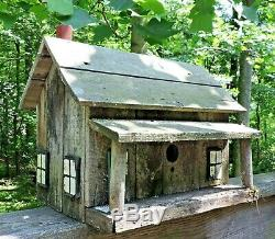 Wooden Bird House Vintage Bird House Hand Crafted Wood House, Early Folk Art
