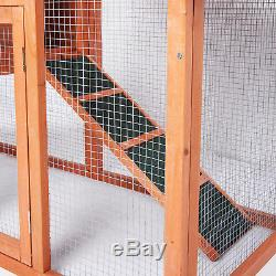 Wooden Chicken Coop Rabbit Hutch With Run Hen Poultry Ark House Nest Pet Bird Cage